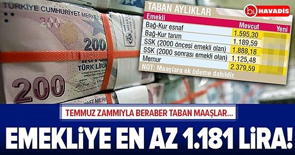 Emekliye 1.181 lira! | SSK, Bağ-Kur ve memur emeklisinin taban aylıkları ne kadar?.