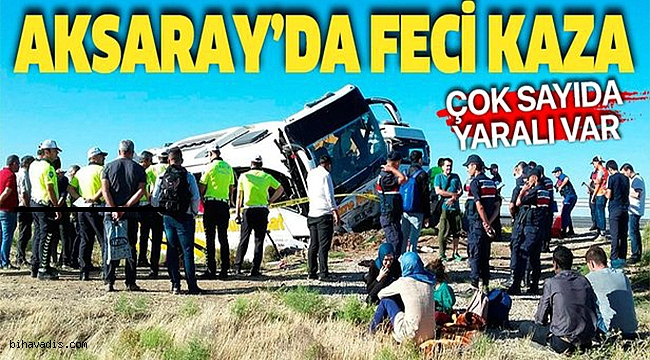 Son dakika: Aksaray'da yolcu otobüsü şarampole devrildi: 10 yaralı