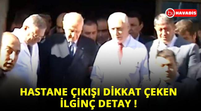 Hastane çıkışı MHP Lideri Devlet Bahçeli'nin koluna girdiler