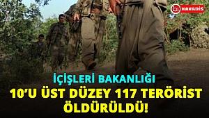 Son dakika: İçişleri Bakanlığı 10'u sözde üst düzey, 117 teröristin etkisiz hale getirildiğini açıkladı!..