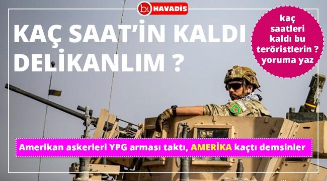 Güvenli bölgeden çekilen Amerikan askerleri, YPG arması takarak objektiflere poz verdi.