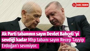 Ak Parti tabanının sayın Devlet Bahçeli 'yi sevdiği kadar Mhp tabanı sayın Recep Tayyip Erdoğan'ı sevmiyor