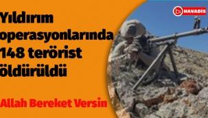 Sürdürülen Operasyonlarda 148 Terörist Etkisiz Hale Getirildi.